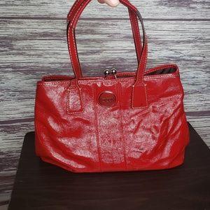 coach red leather large handbag